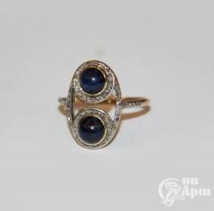 Кольцо с сапфирами и алмазами в стиле ар- деко